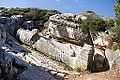 Unfinished colossal statue in quarry, Apollonas, Naxos, 11H1973.jpg