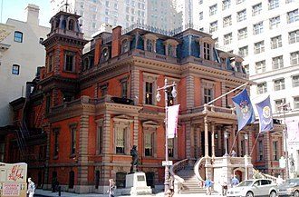 Union League - Union League of Philadelphia building on Broad Street in Center City of Philadelphia is a Victorian style architecture mansion with a mansard roof, constructed in 1865.