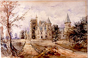 A painting by Sir Edmund Walker depicts the main building of University College in 1859.