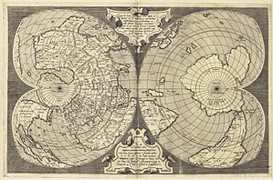 """Lafreri atlases - Untitled map of the world on a double cordiform projection from """"Lafreri atlas"""", c. 1564"""