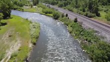 Drone shot of the upper portion of the Clark Fork River[14]
