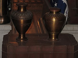 Joseph Stanley Brown - The urn of Joseph Stanley Brown (left) sits beside the urn of Mollie Garfield (right) in the crypt of the James A. Garfield Memorial.