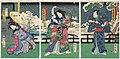 Utagawa Kunisada II - Actors Bandô Hikosaburô V as Ashikaga Mitsuuji, Kawarazaki Gonjûrô I as the Dance Teacher Shinonome, and Iwai Shijaku II as Tasogare.jpg