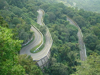 Valparai - Winding ghat roads at Valparai