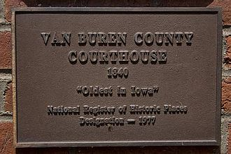 Van Buren County, Iowa - Plaque on the Van Buren County courthouse, indicating its age and historic status.