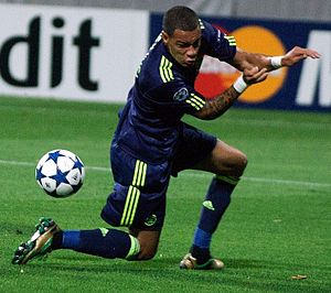 Gregory van der Wiel - Playing for Ajax in the Champions League, August 2010.