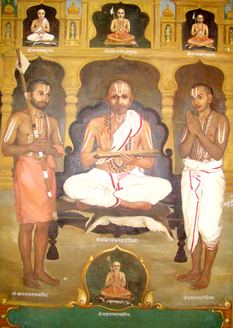 Urdhva Pundra - Three Sri Vaishnava practitioners with the Urdhva Pundra on various parts of the body - forehead, neck, arms, chest and stomach region.