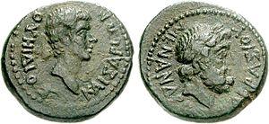 Vedius Pollio - Coin showing Vedius Pollio (left)