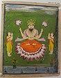 Viṣṇu as Buddha making gesture of dharmacakrapravartana flanked by two disciples.jpg