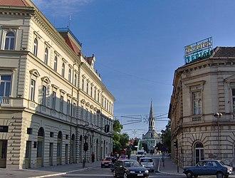 Danube–Criș–Mureș–Tisa Euroregion - Image: View at Subotićeva street of the Finance palace, Zrenjanin, Serbia
