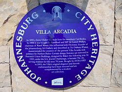 Villa arcadia plaque 1
