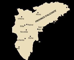 carte espagne region alicante