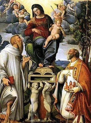 Prosper of Reggio - Giovanni Soncini, The Virgin Mary with the Baby Jesus, Saint Bernard of Clairvaux, and Saint Prosper, 16th century.