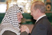 Vladimir Putin e Yasser Arafat il 29 maggio 2001