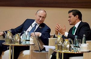 Mexico–Russia relations - Mexican President Enrique Peña Nieto and Russian President Vladimir Putin meeting at the G-20 Summit in Hamburg, Germany; July 2017.