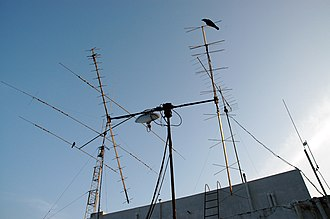 Amateur radio in India - Antennas at the location of ham operator VU2GMN in Chennai. Knowledge of propagation and antennas is needed to get the licence.