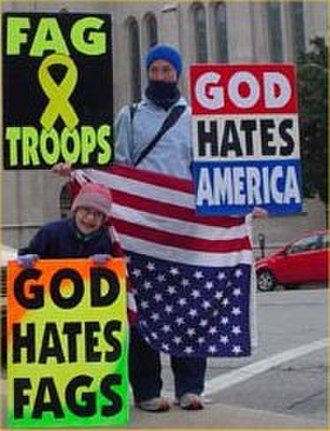 Westboro Baptist Church - A WBC member and child protesting homosexuality at the Trinity Episcopal Church in Tulsa, Oklahoma
