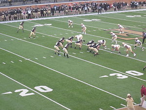 Spread offense - The Wake Forest Demon Deacons are lined up in a two-receiver spread package during a 2012 game against Boston College.