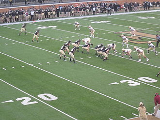 Spread offense - The Wake Forest Demon Deacons are lined up in a three-receiver spread package during a 2012 game against Boston College.