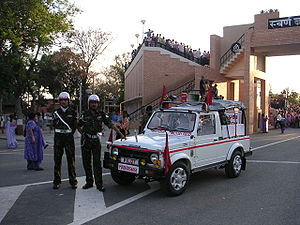 Corps of Military Police (India) - Corps of Military Police (India) personnel patrolling the Wagah border crossing in Punjab in a Maruti Gypsy.