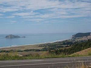 Waimarama - Waimarama from the hills above, with Bare Island to the left