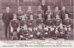 Gwyn Nicholls - 1905 Wales squad, Nicholls, captain, middle row, centre with ball