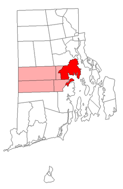 Location of Warwick in Kent County,Rhode Island