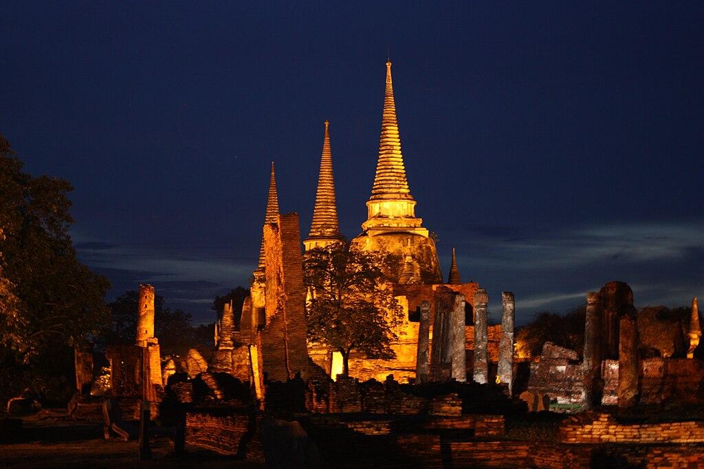 Wat Phra Si Sanphet Ayutthaya at night