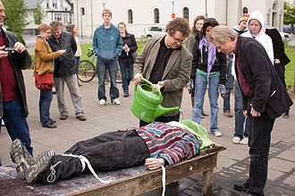 Waterboarding - Demonstration of waterboarding at a street protest during a visit by Condoleezza Rice to Iceland, May 2008