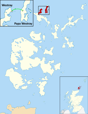 Westray to Papa Westray flight - Image: Westray to Papa Westray air route map