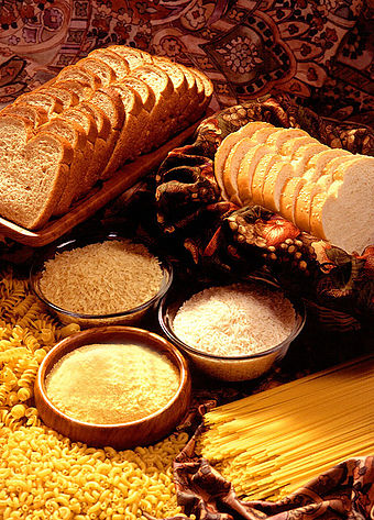 Grain products: rich sources of complex and simple carbohydrates Wheat products.jpg