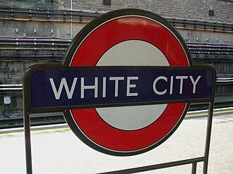 White City tube station - Image: White City stn roundel