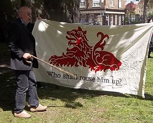 Fifth Monarchists - Ian Bone speaking at the installation of the Thomas Rainsborough memorial plaque (12 May 2013), championing Thomas Venner and the Fifth Monarchy Men. The banner is a replica of that used by the insurgents at the time.