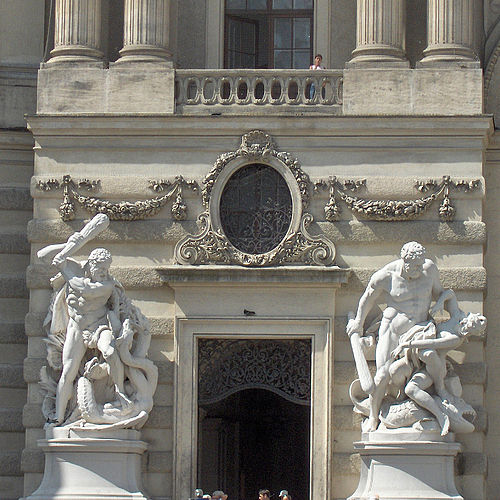 Facade to Michaelerplatz entrance - two of the labours of Hercules