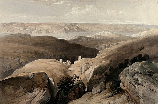 Wilderness of Engedi, with the monastery of St. Saba, lookin Wellcome V0049464