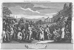 Industry and Idleness - The Idle 'Prentice Executed at Tyburn — Plate 11 of 12 of the series, showing the final reward of idleness