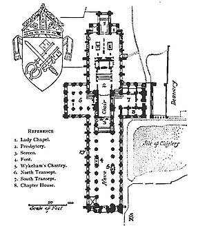 Winchester Cathedral - A plan published in 1911