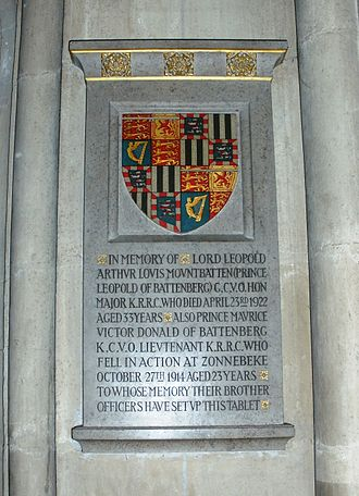 Prince Maurice of Battenberg - Winchester Cathedral, memorial to Prince Maurice and his brother Leopold