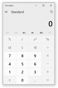 Calculator in Windows 10 in light mode
