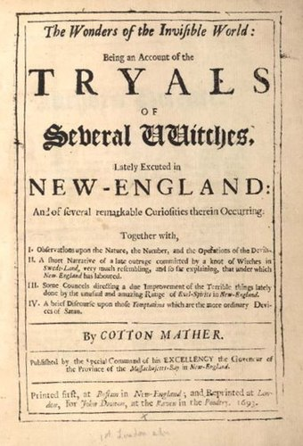 Title page of Wonders of the Invisible World (London, 1693) by Cotton Mather WondersoftheInvisibleWorld-1693.jpg