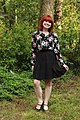 Work Outfit- Black Pleated Skirt, Floral Print Button Down, and Mary Jane Heels (18330906681).jpg