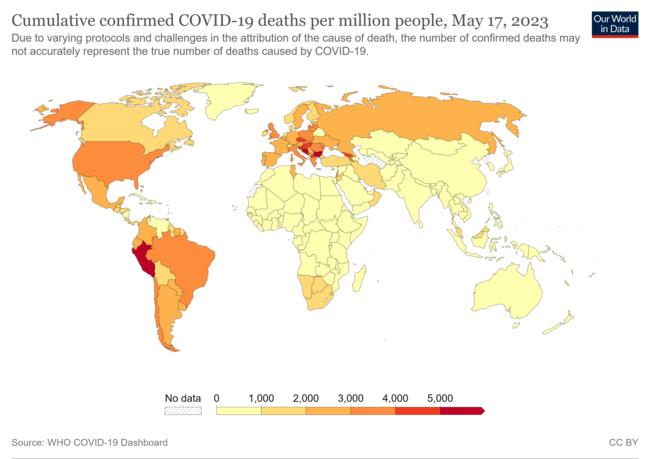国ごとのCOVID-19の確定死者数を示した地図(百万人あたり、2020年3月20日時点)[43]