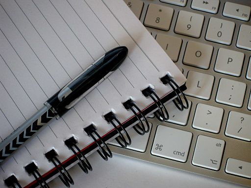 Writing Tools - paper pen laptop