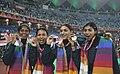 XIX Commonwealth Games-2010 Delhi (Women's 4x400m Relay) Sini Jose, Mandeep Kaur, Manjeet Kaur and Ashwini Akkunji of India won the Gold Medal, at Jawaharlal Nehru Stadium, in New Delhi on October 12, 2010.jpg