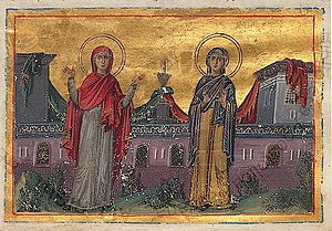 Acts of Xanthippe, Polyxena, and Rebecca - Image: Xanthippe and Polyxene (Menologion of Basil II)