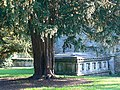 Yew tree and Goddard family tomb, The Lawn, Swindon - geograph.org.uk - 594056.jpg
