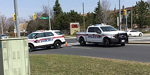 York Regional Police - York Regional Police vehicles on the scene of a car accident in Vaughan