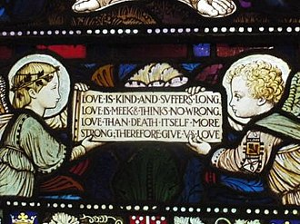 Christopher Wordsworth - A verse from Gracious Spirit, Holy Ghost incorporated into a stained glass window