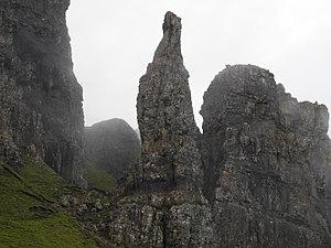 """Quiraing - Image: """"The Needle"""" rock formation in Quiraing, Isle of Skye"""