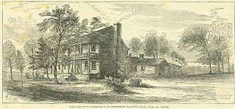 Grant's Farm - Horizontal wood engraving on a vertical page from Every Saturday, November 25, 1871, page 525, showing an old two story house surrounded by trees.
